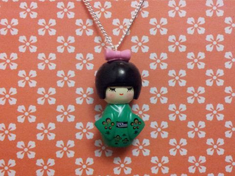 Green,Kimono,Girl,Necklace,kawaii harajuku green geisha russian doll dolly kimono japanese silver gold necklace chain cute pendant