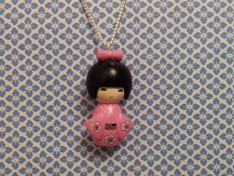 Pink,Kimono,Girl,Necklace,kawaii harajuku pink geisha russian doll dolly kimono japanese silver gold necklace chain cute pendant