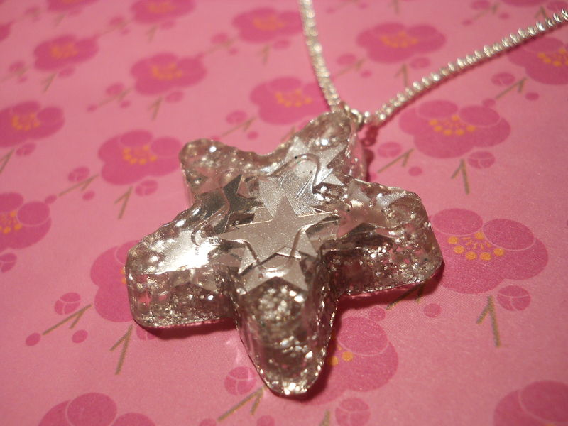 Super Shiny SIlver Star Confetti Necklace - product images  of