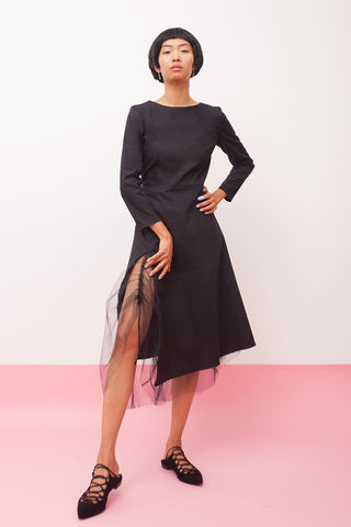 Black,net,lining,dress,mengqi ma, meng qi ma, mengqi ma uk, meng qi ma uk, cotton dress, cotton dress uk, independent brand dress,