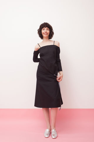 Black,slip,dress,with,full,sleeve,mengqi ma, meng qi ma, mengqi ma uk, meng qi ma uk, cotton dress, cotton dress uk, independent brand dress,