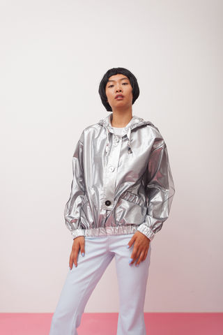 Metallic,bomber,jacket(,Hoodie),mengqi ma, meng qi ma, mengqi ma uk, meng qi ma uk, cotton dress, cotton dress uk, independent brand dress, hoodie, silver hoodie,