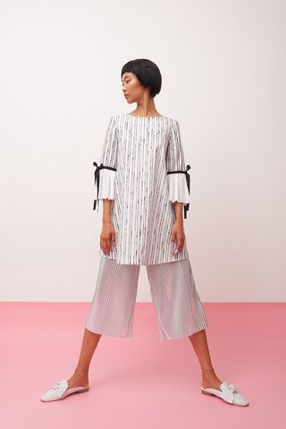 Hand,painted,stripe,with,3/4,sleeve,top,mengqi ma, meng qi ma, mengqi ma uk, meng qi ma uk, cotton dress, cotton dress uk, independent brand dress,