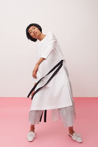 Long,shirt-dress,withblack,ribbon,mengqi ma, meng qi ma, mengqi ma uk, meng qi ma uk, cotton dress, cotton dress uk, independent brand dress,