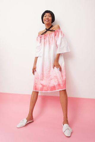 Hand,painted,off-shoulder,dress,mengqi ma, meng qi ma, mengqi ma uk, meng qi ma uk, cotton dress, cotton dress uk, independent brand dress,