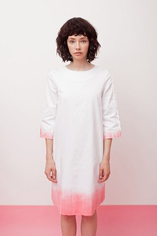 Hand,painted,pink-denim,dress,mengqi ma, meng qi ma, mengqi ma uk, meng qi ma uk, cotton dress, cotton dress uk, independent brand dress,