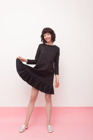 Black,A-shape,dress,mengqi ma, meng qi ma, mengqi ma uk, meng qi ma uk, cotton dress, cotton dress uk, independent brand dress,