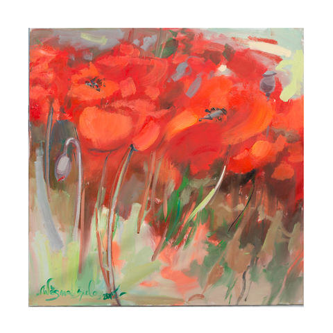 Medium,Poppies,Vēsma Ušpele, vesma uspele, oil painting, vest uspele uk,