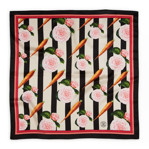 CARROTS,AND,ROSES,SILK,SCARF,(with,frame),texas and the artichoke, silk scarf, art scarf,