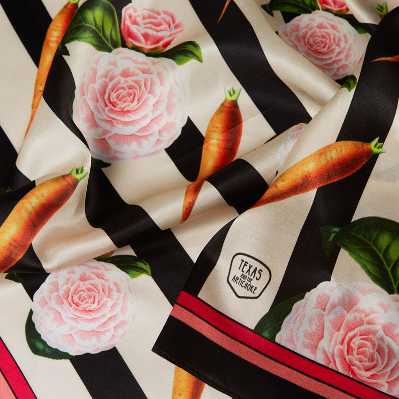 CARROTS AND ROSES SILK SCARF (with frame) - product images  of