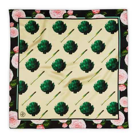 ARTICHOKES,SILK,SCARF,-,AS,SEEN,IN,VOGUE,texas and the artichoke, silk scarf, art scarf,