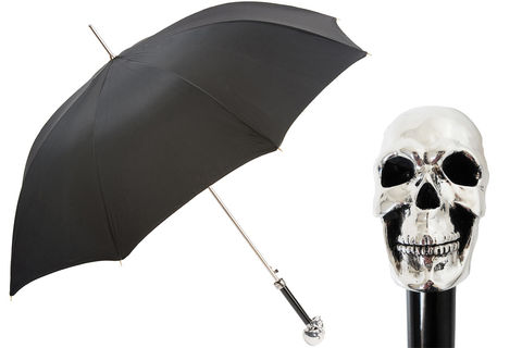 SILVER,SKULL,UMBRELLA,pasotti, pasotti umbrella, pasotti umbrella uk, pasotti london, pasotti stockist,