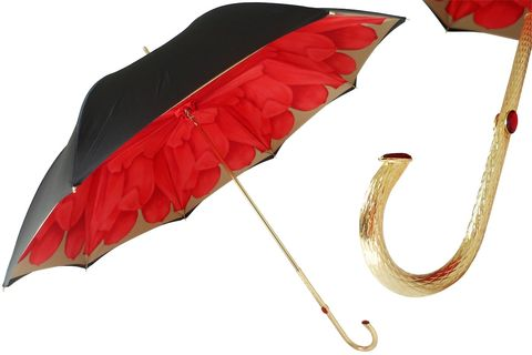 RED,DAHLIA,UMBRELLA,WITH,BLACK,EXTERIOR,,DOUBLE,CLOTH,pasotti, pasotti umbrella, pasotti umbrella uk, pasotti london, pasotti stockist,