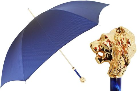 Blue,Umbrella,with,Gold,Lion,Handle,pasotti, pasotti umbrella, pasotti umbrella uk, pasotti london, pasotti stockist,