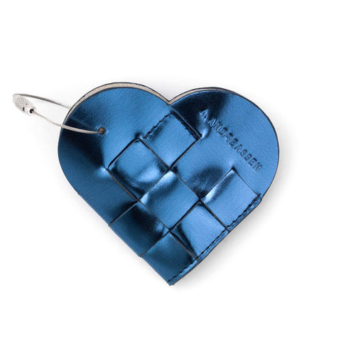 ELSKLING,KEY,POUCH,,METALLIC,BLUE,LEATHER,a.andreassen, a.andreassen uk, key ouch, key chain, key bag, gift,