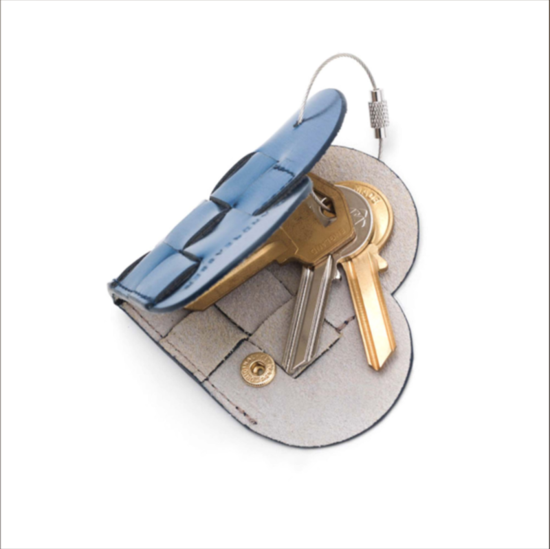 ELSKLING KEY POUCH, METALLIC BLUE LEATHER - product images  of
