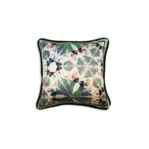 IGUAZU,COLLECTION,-,GREEN,PARROTS,SILK,CUSHION,texas and the artichoke, home cushion, art cushion, uk cushion, velvet cushion,