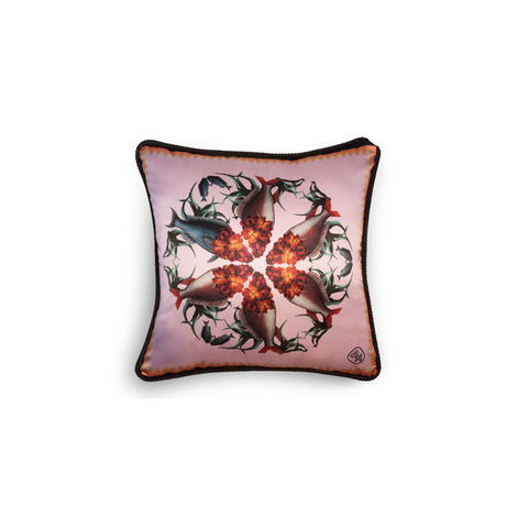 WALLFLOWER,FISH,DETAIL,SILK,AND,VELVET,CUSHION,texas and the artichoke, home cushion, art cushion, uk cushion, velvet cushion,