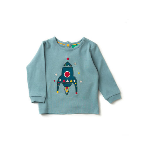Rocket,To,The,Stars,Appliqué,T-Shirt,Little Green Radicals, Little Green Radicals uk, kid top, kid t-shirt,