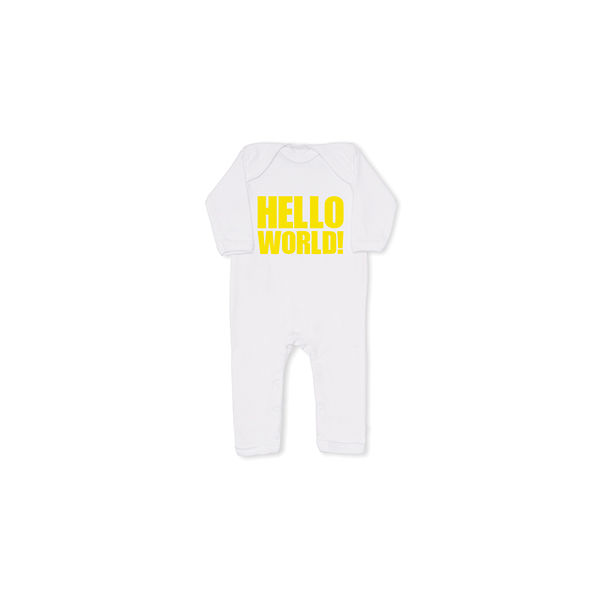 HELLO WORLD! yellow cool baby grow, all in one - product image