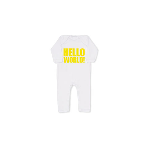 HELLO,WORLD!,yellow,cool,baby,grow,,all,in,one,snuglo, snuglo uk, baby alert, cute baby set, baby gift, baby grow,