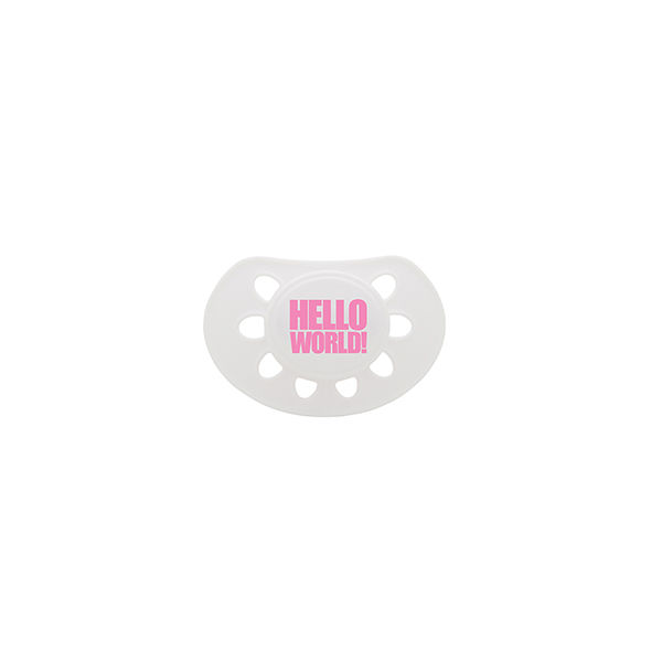 Hello World dummy white/pink soother - product images  of