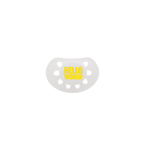 Hello,World,dummy,white/yellow,soother,snuglo, snuglo uk, baby alert, cute baby set, baby gift, baby dummy