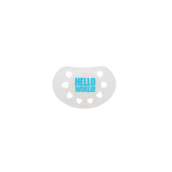 Hello World dummy white/blue soother - product images  of