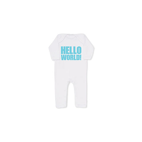 HELLO,WORLD!,Cool,Baby,All,In,One,in,Blue,snuglo, snuglo uk, baby alert, cute baby set, baby gift, baby grow,