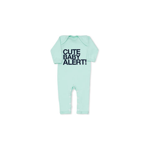 CUTE,ALERT!,navy,on,mint,slogan,all-in-one,snuglo, snuglo uk, baby alert, cute baby set, baby gift, baby grow,