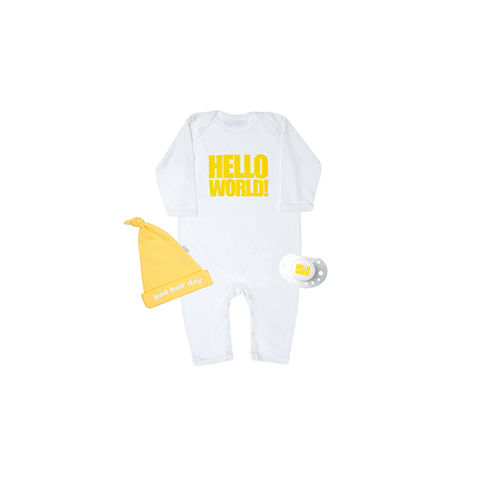 Hello,World,Yellow,set,snuglo, snuglo uk, baby alert, cute baby set, baby gift,