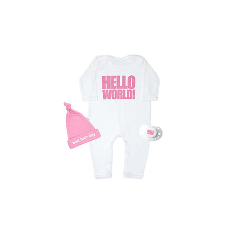 Hello,World!,Pink,set,snuglo, snuglo uk, baby alert, cute baby set, baby gift,
