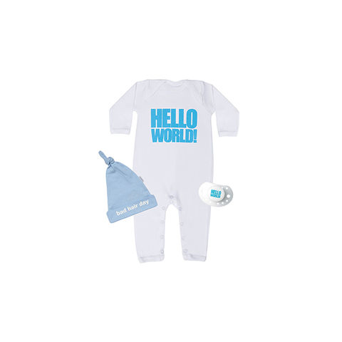 Hello,World!,Blue,set,snuglo, snuglo uk, baby alert, cute baby set, baby gift,