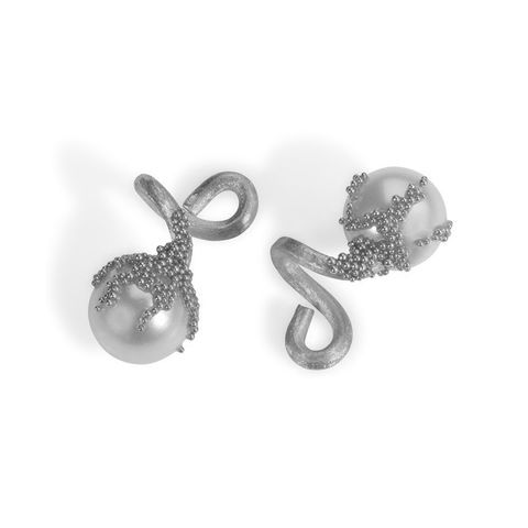 'Magic,Berries',Silver,cufflinks,francesca mercenaro, francesca mercenaro uk, pearl jewellery, parl cufflinks,