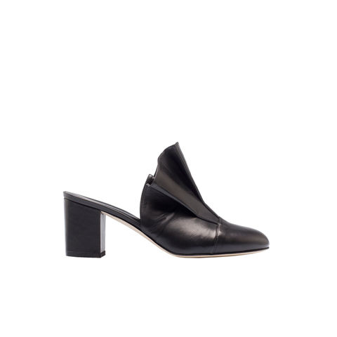 Leather,high-heel,ruffled,mules,aletheia, aletheia london, aletheia shoes, leather shoes,