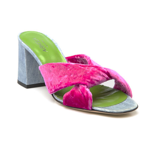 Criss-Cross Sandals- Fusia velvet  - product images  of