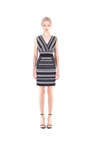 Black,&,White,Embriodery,dress