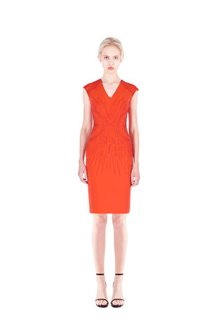 Orange,Classic,embroidered,dress