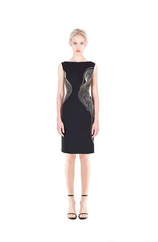 Black,dress,with,gold,embroidery