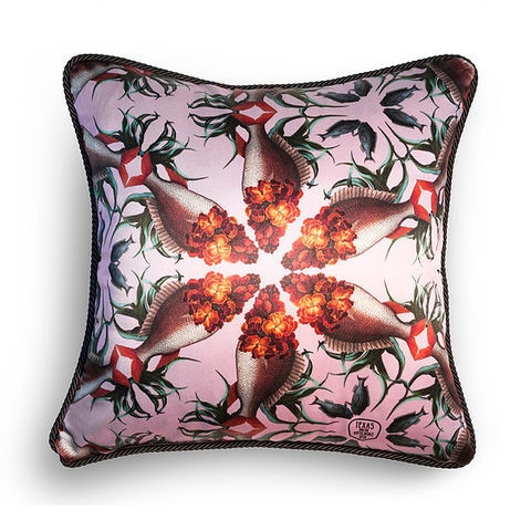 WALLFLOWER,FISH,SILK,AND,VELVET,CUSHION