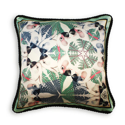 IGUAZU,COLLECTION,-,GREEN,PARROTS,SILK,CUSHION,AS,SEEN,IN,ELLE,DECORATION,SPAIN