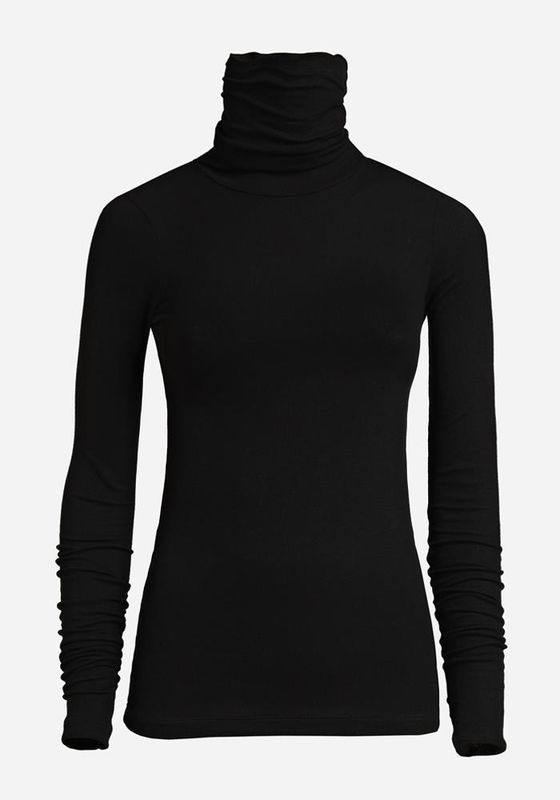 THIN RIB POLO IN BLACK  - product image