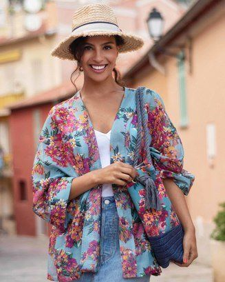 Ladies,Summer,Floral,Jacket,-,Blue