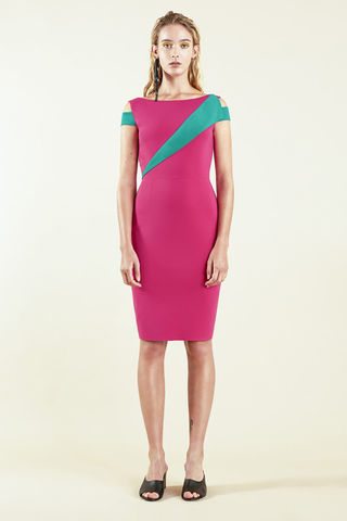Colour,Block,Dress,-,Fushia/Emerald
