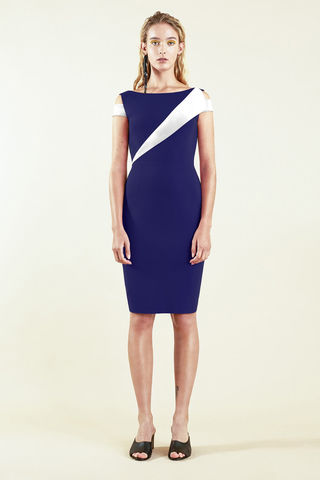 Colour,Block,Dress,-,Navy/White