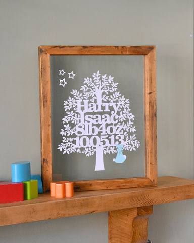 Personalised,New,Baby,Tree,Papercut