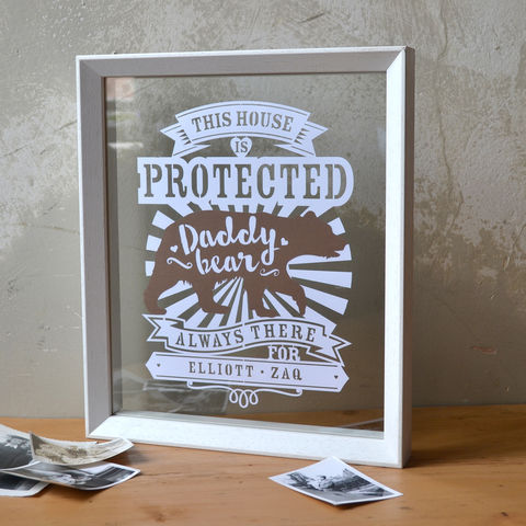 Daddy,Bear,Papercut,-,can,be,personalised,daddy bear paper cut, daddy bear, papercut for dad, father's day gift, kyleigh's Papercuts,