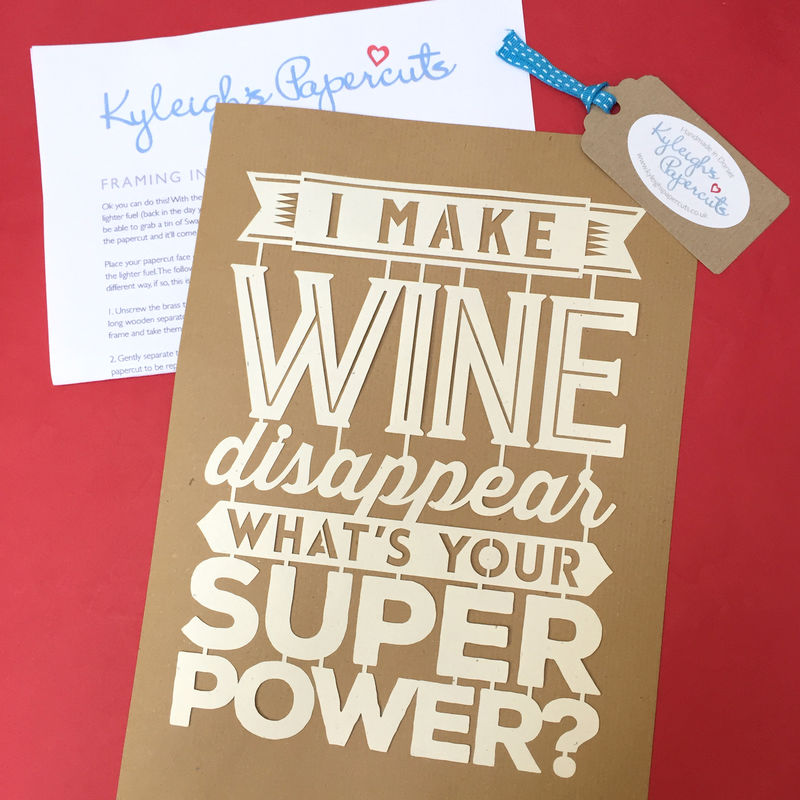 'I Make Gin/Beer/Wine/Cider/Cheese Disappear' Papercut - product image