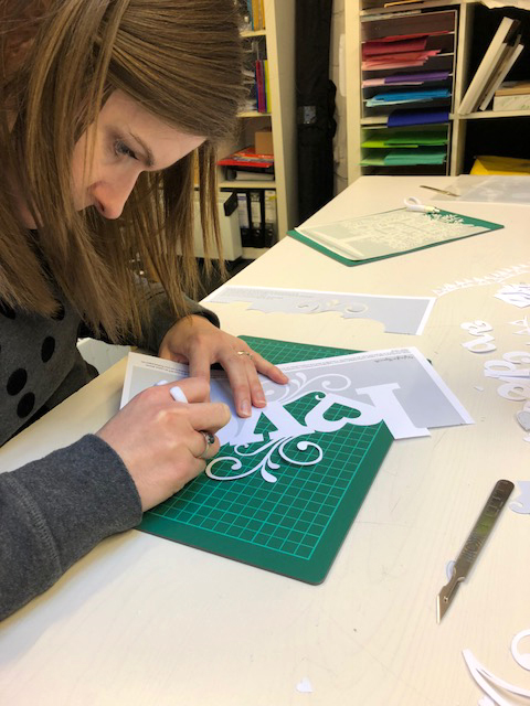 Clare working on the LOVE papercut