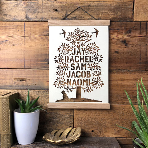 Family,Tree,Papercut,in,Negative,personalised, family tree, oak tree, family motto, Kyleigh's Papercuts, poster hanger